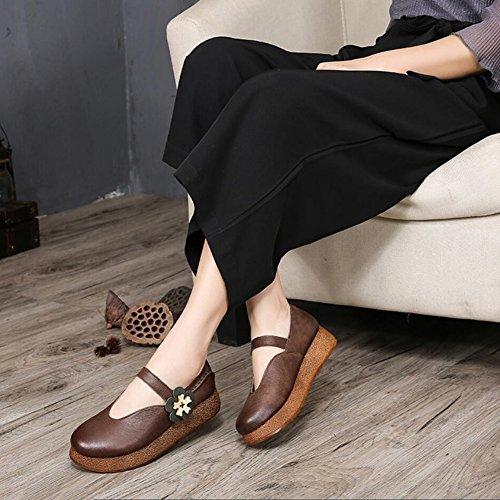 Damenschuhe Größe Frühjahr Ein Office Herbst Fahr Party Schuhe Schuhe Leder XUE Atmungsaktiv amp; 40 Velcro Farbe Stil Loafers Abend Nationalen Ein Wanderschuhe dHqxwSn1ES