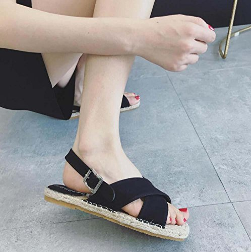 Formato Fibbia rotondo Spiaggia Donne il casual della Semplice black Colore 39 Onfly Biancheria cintura Scarpe Roma sandali Piatto Pompa Scarpe Eu 35 Scarpe Punto piede Aprire sandalo puro 7zqaXxgw