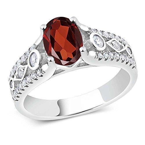 White Gold Garnet Ring (1.76 Ct Red Garnet 925 Sterling Silver Engagement Ring (Available in size 5, 6, 7, 8, 9))