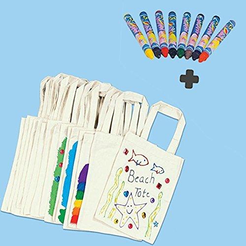German Trendseller® - 10 Sac en Coton + 8 Crayons Textiles┃pour la peinture┃ Give away
