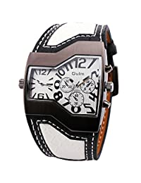OULM Men's Fashion Casual Quartz Wrist Watch Leather Strap 2 Time Display Sub Dials Multi-function Amorous Style Japan Movement