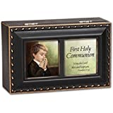 First Communion Boy Distressed Black Keepsake Music Box - Plays Tune Handel's Hallelujah