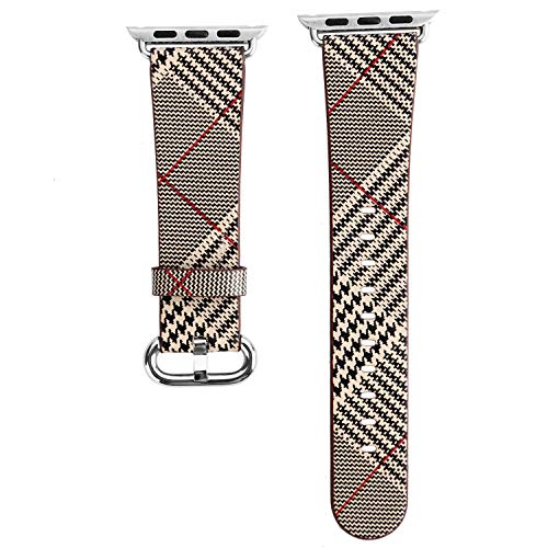 Angeland Houndstooth Leather Replacement Band for 44 mm Apple Watch Series 4 and 42 mm Series 3, Series 2, Series 1 - Khaki