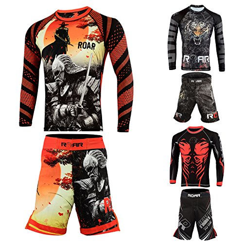 Roar BJJ Rash Guard Long Sleeve UFC Cage Fight Training MMA Shorts Jiu Jitsu Grappling (Black/Warrior, Small)