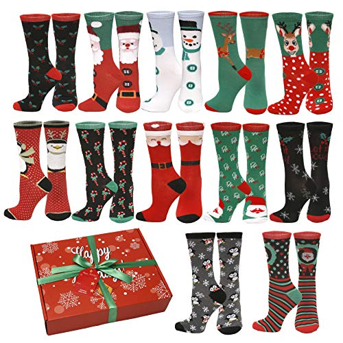 12 Pair,Holiday X-Mas Socks, 12 Different...
