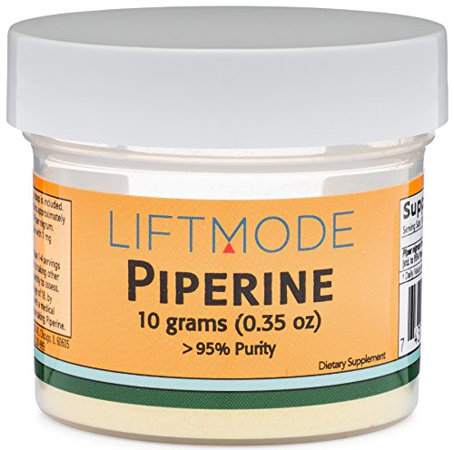 LiftMode Piperine 95% Pure - 10 Grams (1000 Servings at 10 mg) | #Top Bulk Supplement | for Healthy Metabolism and Stress Reduction | Vegetarian, Vegan, Non-GMO, Gluten Free