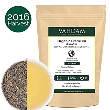 Organic Green Tea (225 Cups), Rich & Flavoury, Second Flush Green Tea, 100% Certified Pure & Unblended, Direct from India, 454g