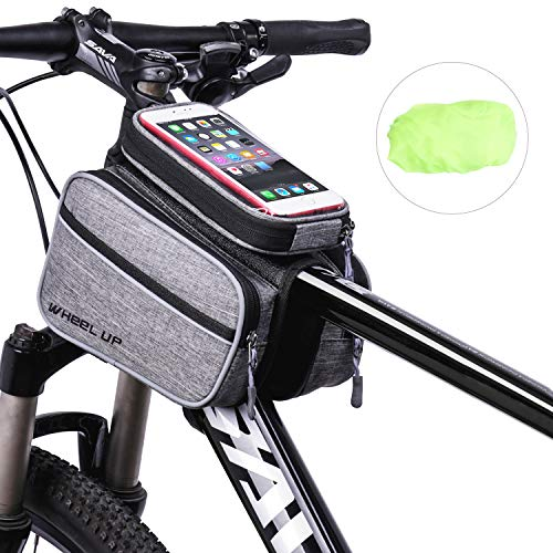 IOUTDOOR Multi-Pocket Bike Handlebar Bag Bike Pannier Pouch Bike Front Tube Frame Bag with 6.0 Inch Water Resistant TPU Touch Screen Phone Case