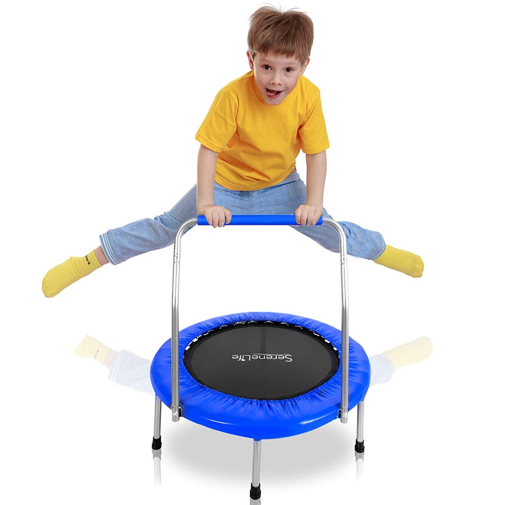 Cardio Trainer with Handle SereneLife Portable /& Foldable Trampoline Padded Frame Cover and Handle Safe for Kids SLSPT369