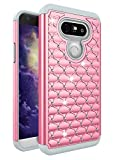 LG G5 Case,Jaweke Soft Silicone Hard Plastic Heavy Duty Shock Proof Studded Rhinestone Crystal Bling Diamond Hybrid Dual-Layer Armor Defender Protection Case Cover For LG G5 (Pink/Grey)