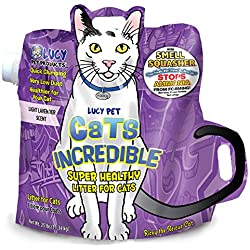 Cats Incredible Lucy Pet 25 lb Bag Clumping Cat Litter with Smell Squasher, Absorbent Natural Clay Formula Prevents Ammonia Build-Up, Lavender Scent
