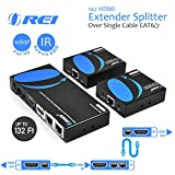 OREI 1x2 HDMI Extender Splitter Over Single Cable CAT6/7 1080P With IR Remote EDID Management - Up to 132 Ft - Loop Out - Low Latency
