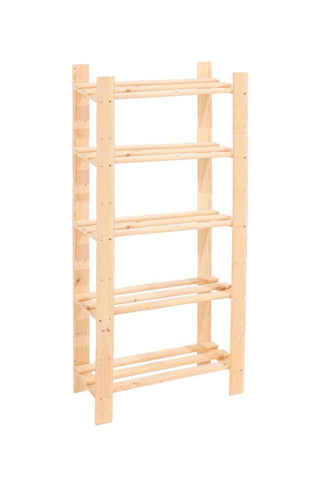 Ordinaire Core Products 5 Shelf Narrow Slatted Storage Unit, Natural Pine