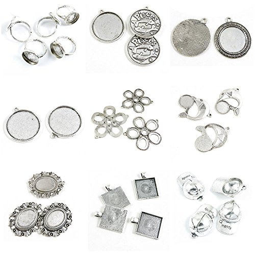 29 Pieces Antique Silver Tone Jewelry Making Charms Baseball Cap Square Cabochon Base Blank Oval Dolphin Six Rings Round 25mm Pisces Ring 14mm
