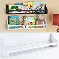 1 White Molding Design Children's Wall Shelf Birch Wood 30 Inch Multi-use Bookcase Toy Game Storage Display Organizer Ships Fully Assembled