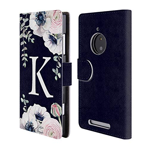 Official Nature Magick Letter K Watercolour Flower Monogram 1 Leather Book Wallet Case Cover for Nokia Lumia 830 (Phone Cover For Nokia Lumia 830)