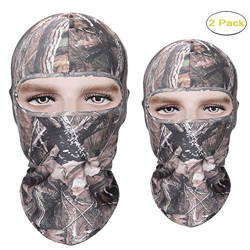 Reactree Camo Balaclava Full Face Mask Hood Headcover Hunting Shooting Cycling Motorcycle Tactical Comfortable Soft Balaclava Headwear (Realtree Camo 02 2 Pack) ()
