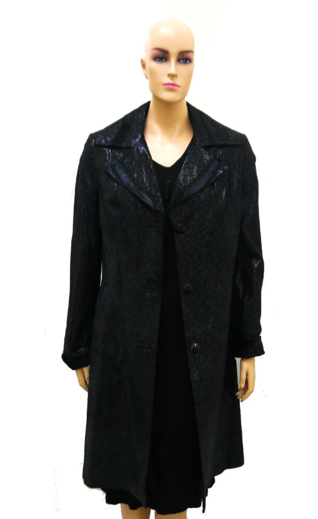 Women's Genuine Leather Long Coat with Fur Trims - Black Size Medium by Hima
