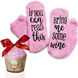 "DreamBundle's Novelty Socks + Cupcake Gift Package""If You Can Read This, Bring me Wine"""