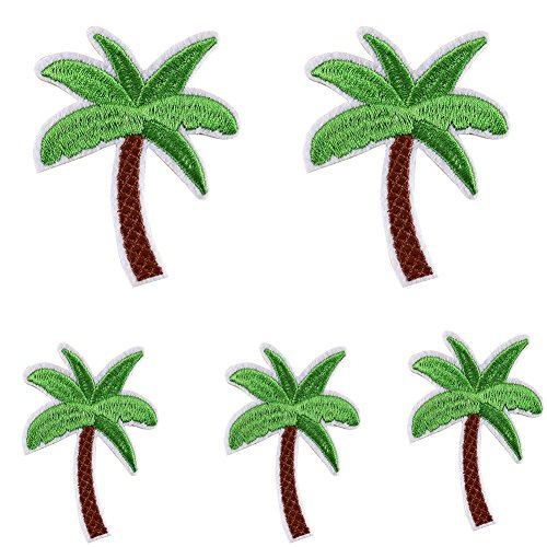 5Pcs Coconut Palm Tree Embroidered Patch Iron on Patch DIY Sewing Applique qsbai
