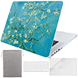 Sykiila for MacBook Pro 15 Inch with Retina Display Case (for Model: A1398, 2012-2015 Released) Hard Cover 4 in 1 with HD Screen Protector + TPU Keyboard Cover + Sleeve - Almond Tree