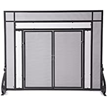 Large Fireplace Screen with Hinged Magnetic Doors, Tubular Steel Frame, Tempered Glass Accents, Metal Mesh, Free Standing Spark Guard, Decorative Design, Matte Black Finish, 44 W x 33 H