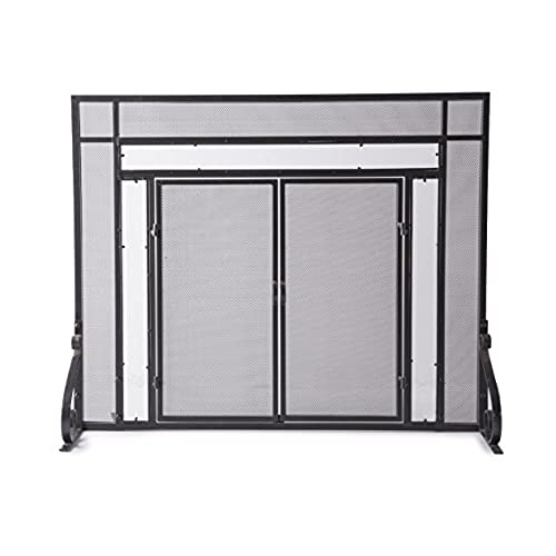 Fireplace doors amazon large fireplace screen with hinged magnetic doors tubular steel frame tempered glass accents metal mesh free standing spark guard decorative design planetlyrics Choice Image