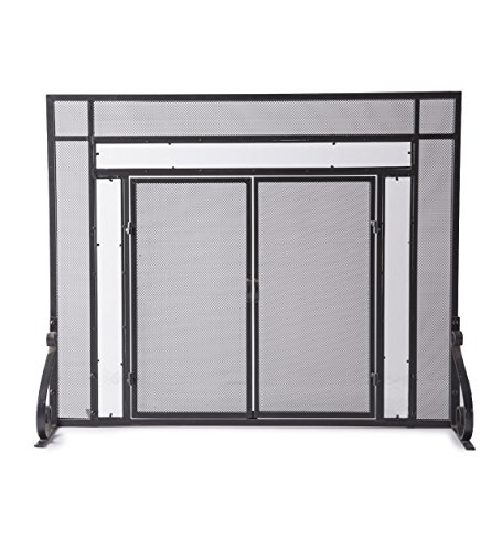 - Small Fireplace Screen with Hinged Magnetic Doors, Tubular Steel Frame, Tempered Glass Accents, Metal Mesh, Free Standing Spark Guard, Decorative Design, Matte Black Finish, 38 W x 31 H