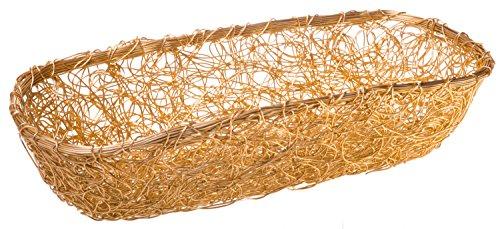 - Aluminum Mesh Gilded Catch-All Storage Basket, Large Woven Loaf Basket, 17-inch
