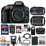 nikon 5300 flash diffuser - Nikon D5300 Digital SLR Camera Body (Black) with 18-140mm VR & 55-300mm VR Zoom Lens + 64GB Card + Case + Flash Kit