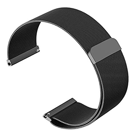 OTOPO Samsung Gear S3 Frontier/Classic Smartwatch Band, 22mm Fully Magnetic Stainless Steel Milanese Loop Bracelet Strap for Moto 360 2 46mm, Pebble Time/Steel, Asus ZenWatch 1 2 Men (Black, (Pebble Band Ring)