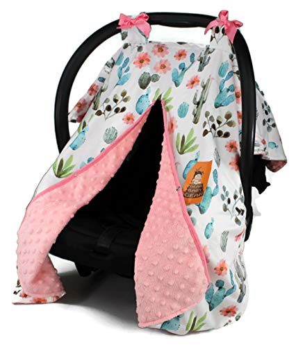 Dear Baby Gear Baby Car Seat Canopy Cover, Watercolor Cactus Floral, Coral Minky (Toddler Seat Car Cover Floral)