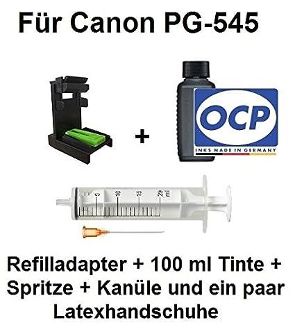 Adaptador de llenado para Canon PG-545/PG-545 XL + 100 ml de tinta OCP