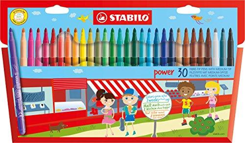 STABILO power - Étui carton de 30 feutres pointe moyenne - Coloris assortis