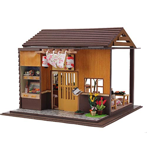 SODIAL DIY Doll House Sushi Restaurant Handmade Craft Toys 3D Wooden Miniature Dollhouse with Furnitures Assemble Kits Toy Gift