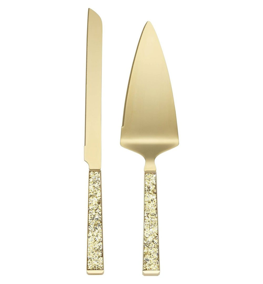 Kate Spade New York Simply Sparkling Gold Cake Knife and Cake Server Dessert Set, Gold-Plated Metal by Kate Spade New York