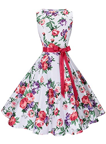 Anni Coco Women's 1950s Hepburn Vintage Swing Dresses With Ribbon Belt Floral 8 - Belt Floral