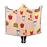RYUIFI Hooded Blanket Food Restaurant Beverage Meal Fries Decoration Blanket 60x50 Inch Comfotable Hooded Throw Wrap
