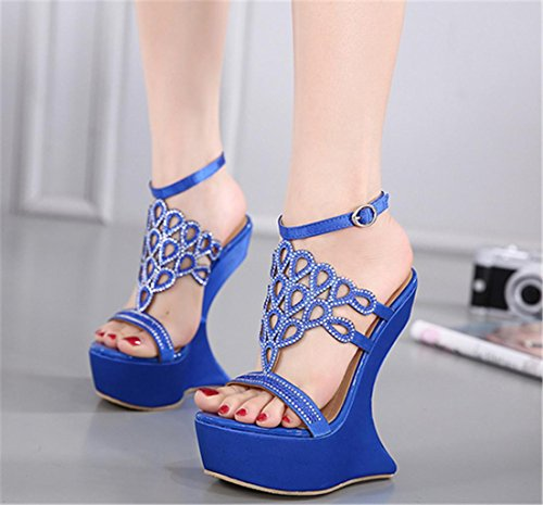HETAO Personality Womens Sandals Muffled Open Toe Flowers Hollow Ladies High Heel Platform Party Wedding Peep Toe Ankle Strap Wedge Shoes Size Girl's Gift Blue S2TrumI9