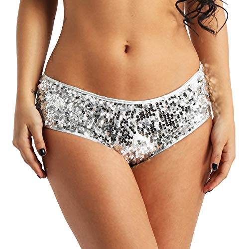 MSemis Woman's Lady Sequin Booty Shorts Shiny Low Rise Dance Mini Shorts Underwear Clubwear Silver Medium (Waist 27.5''-34.0