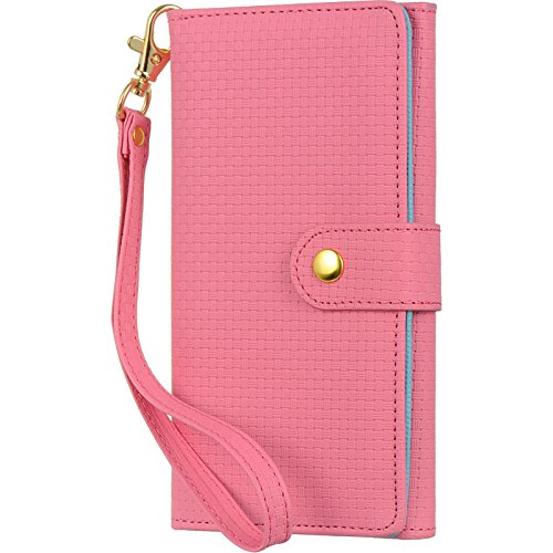 TDG Universal Leather Smartphone Wallet Combination Pouch Case Quilted Weaving Texture for phones up to 5 inches such as iPhone and Samsung Galaxy S series (Pink)