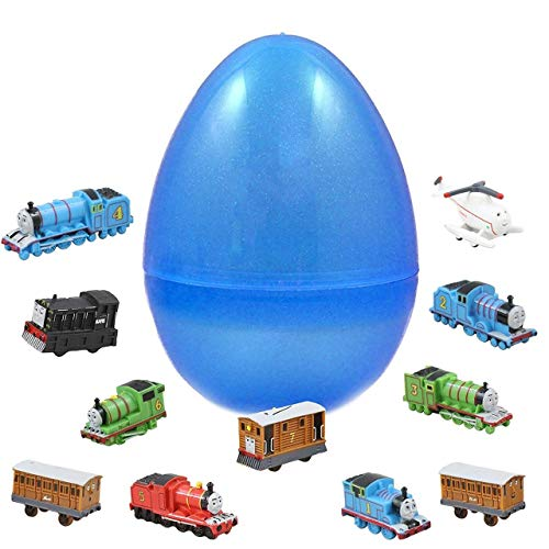 1 Jumbo Toy Filled Easter Egg With 12 Thomas The Train Figures - Prefilled Easter Eggs Save Your Time - Durable 6 Inch Egg in Bright Colorful Designs - Perfect As Cake Toppers And Kids Party ()