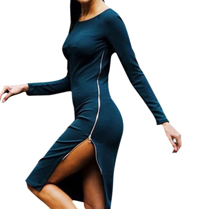 West See Damen Midi Kleid O-Ausschnitt Langarmshirt Etuikleid Abendkleid  (36, Blau)