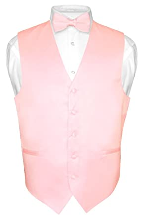 948af2f4a354 Men's Dress Vest & BowTie Solid PINK Color Bow Tie Set for Suit or Tuxedo XS