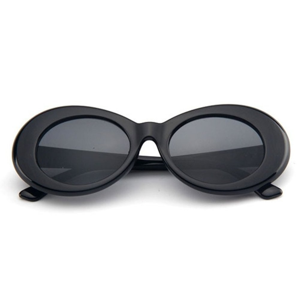 c7c64ac96ac The Culture Classic s Sunglasses Cobain Oval Thick Frame Clout Goggles  (Black Frame + Clear Orange Lens) at Amazon Women s Clothing store
