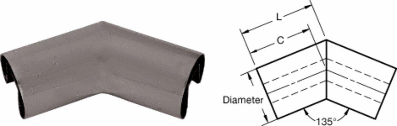 Dark Bronze 1.9'' 135 Degree Horizontal Corner for 1/2'' or 5/8'' Glass Cap Railing