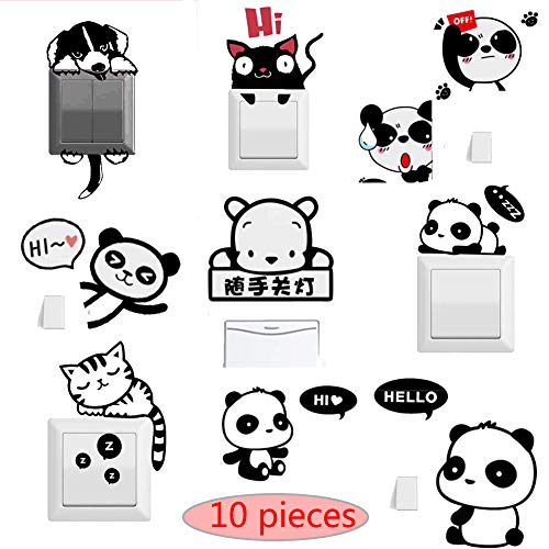 Light Switch Sticker Switch Decorative Stickers 9 Pieces of Children 3D Stereo Stickers Home Decoration Detachable, self-Adhesive Wall Decoration Children's Gifts Art Mural (xiaoxiong)