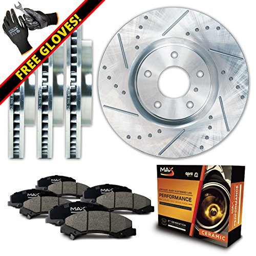 Max KT032113 Front + Rear Silver Slotted & Cross Drilled Rotors and Ceramic Pads Combo Brake Kit; Excl GT Bullitt Models Mustang