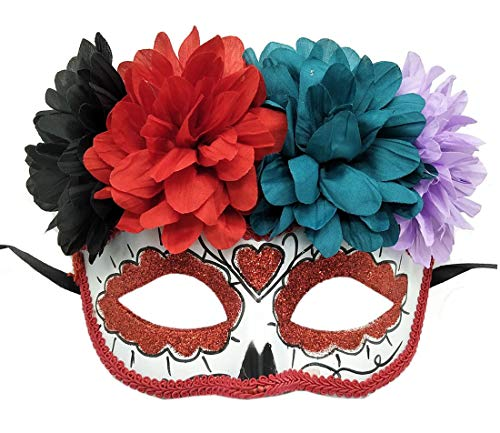Women's Masquerade Mask Mexican Day of The Dead Sugar Skull Eyemask Masque Fancy Dress (ZA Red)