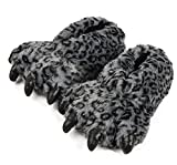 Tonwhar Grizzly Bear Paw Wool Leopard Series Slippers (dark grey)